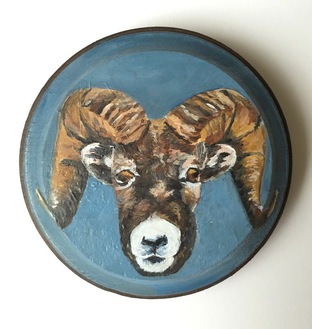 aries  acrylic on wood, 4""