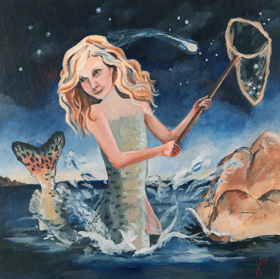 the mermaid gathered the stars ,  acrylic on wood, 8""