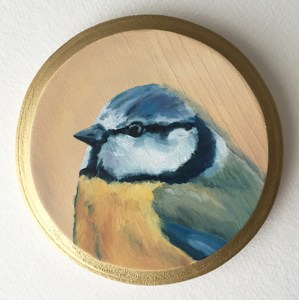 eurasian blue tit   oil on wood 5""