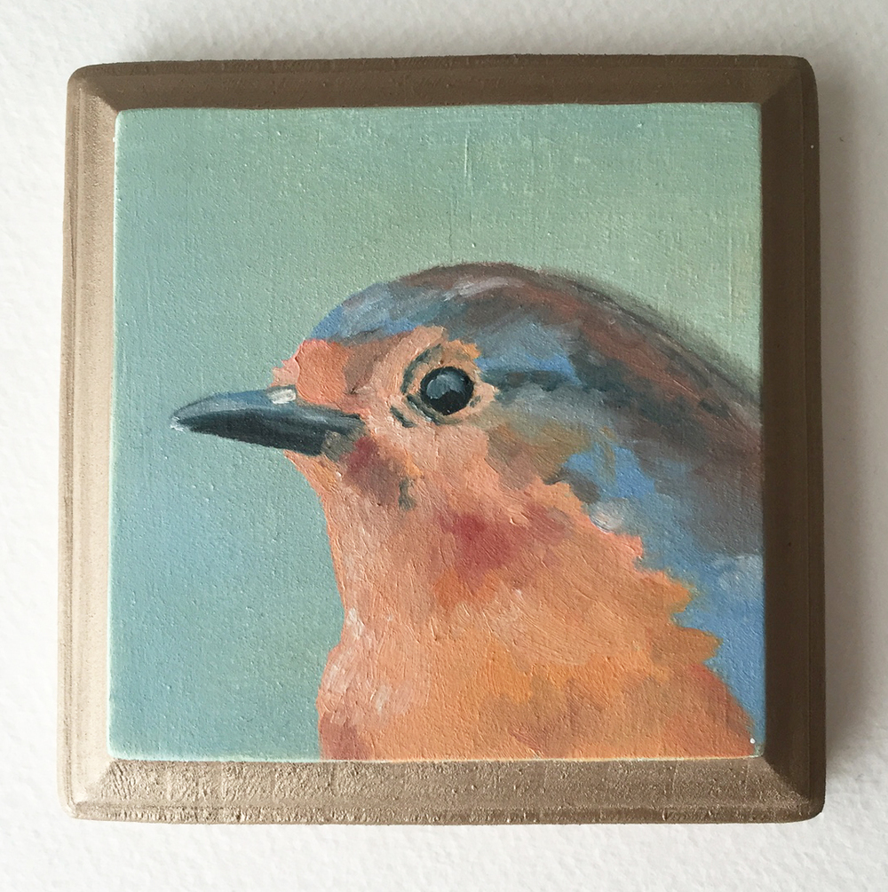 european robin   oil on wood 4""