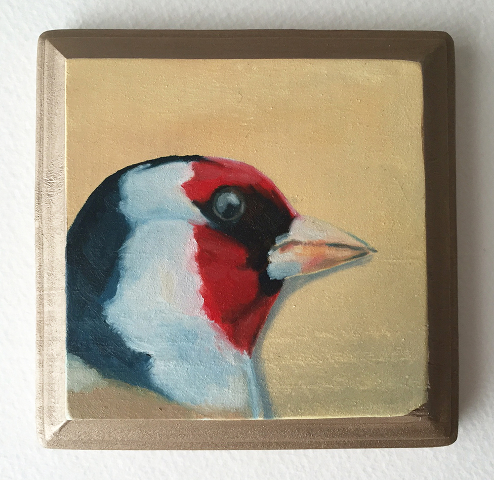 goldfinch no. 2   oil on wood 4""