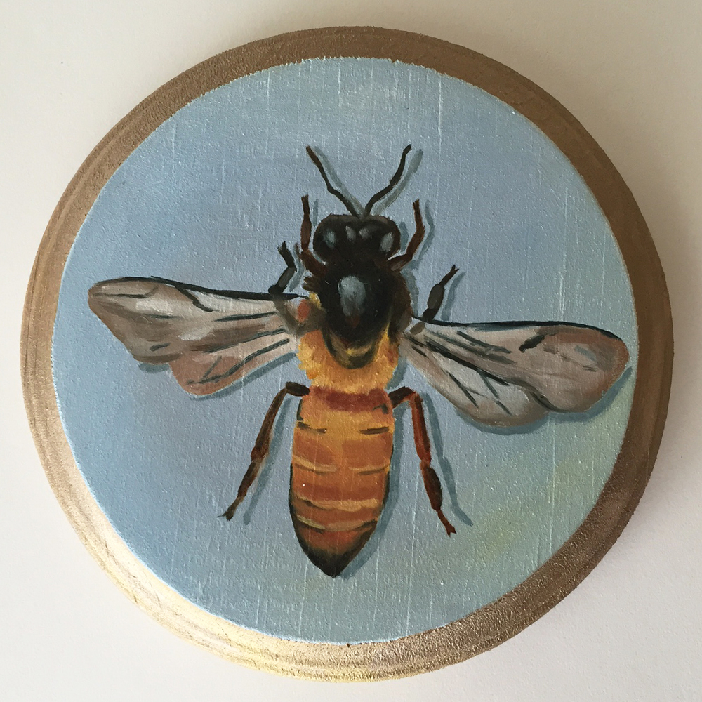 honeybee   oil on wood 5""