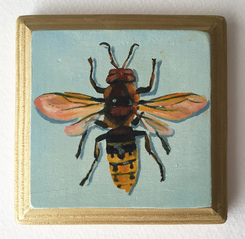hornet no. 1   oil on wood 4""