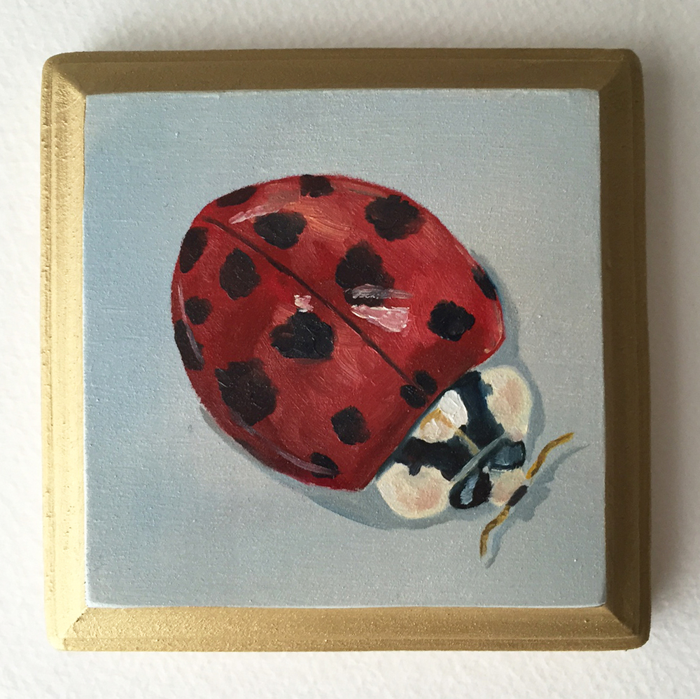ladybird   oil on wood 4""