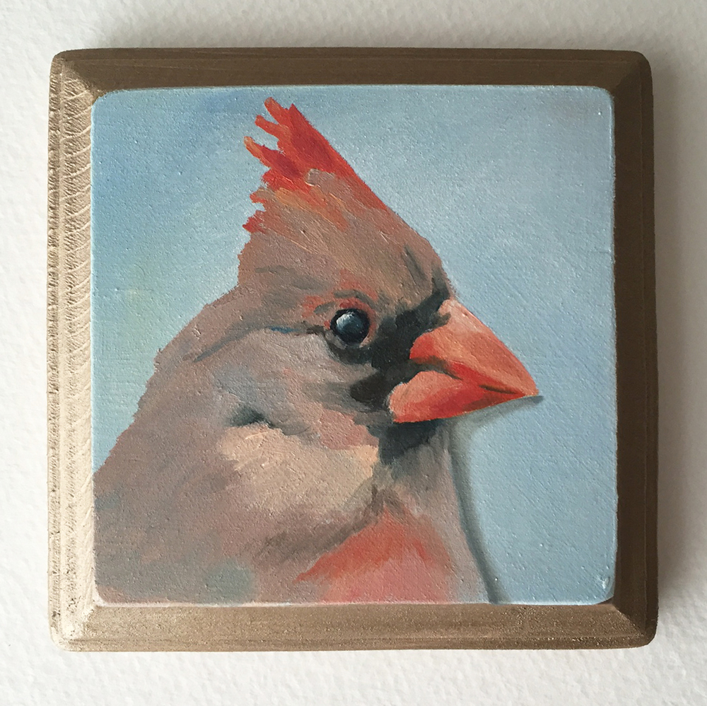 northern cardinal   oil on wood 4""