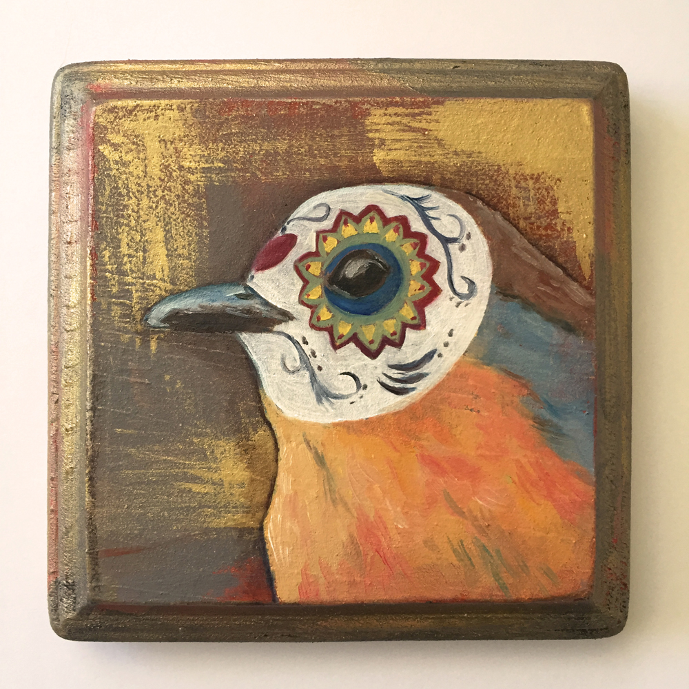 "masked robin   oil on wood 4"""