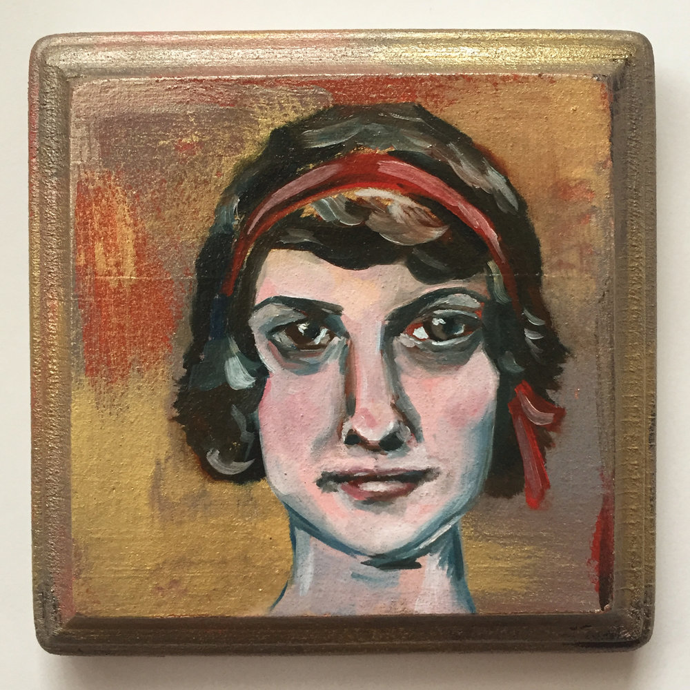 marie   oil on wood 4""