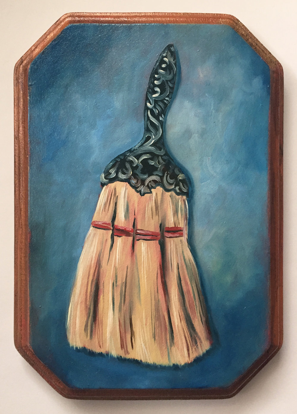 "the broom   oil on wood 5"" x 7"""