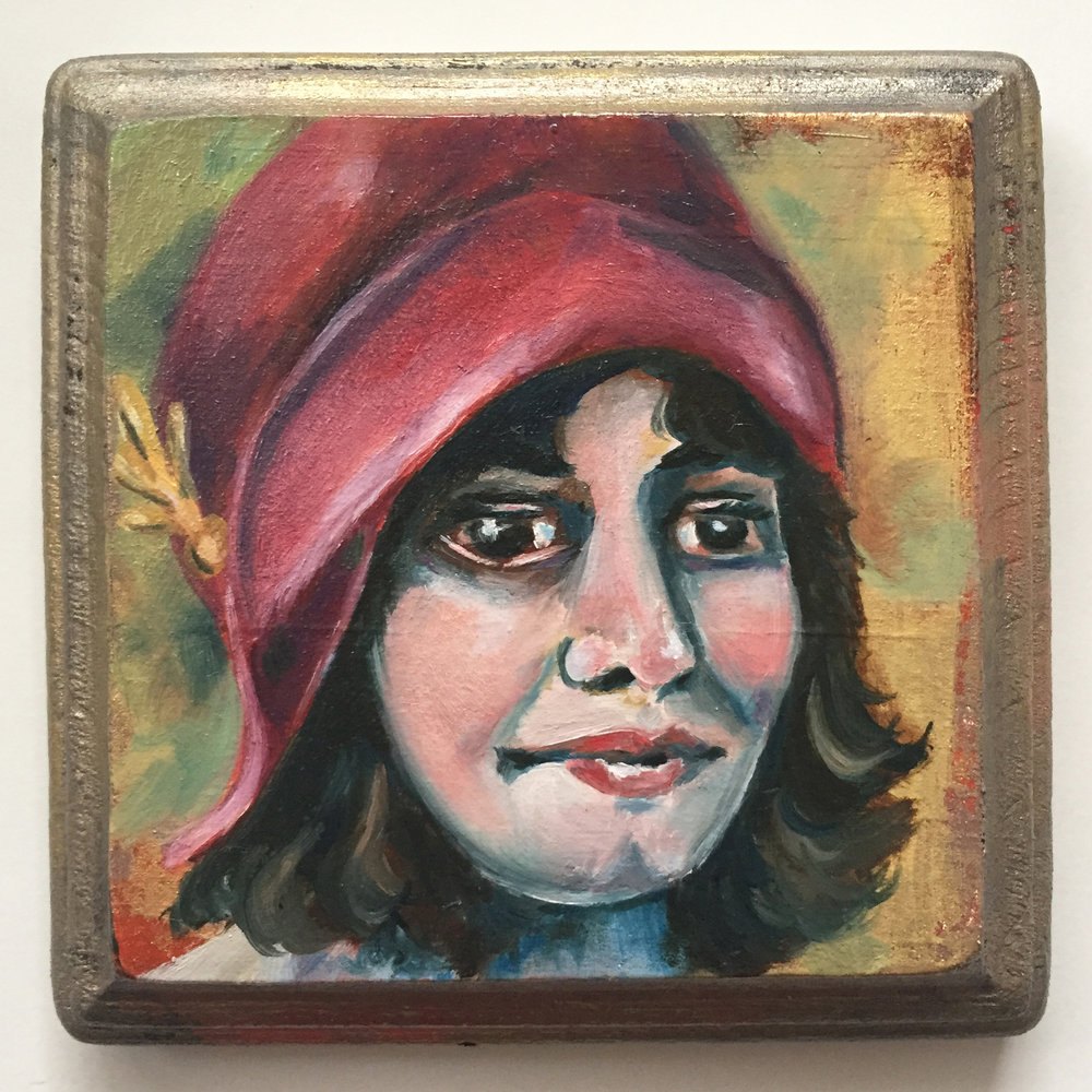 mary   oil on wood 4""
