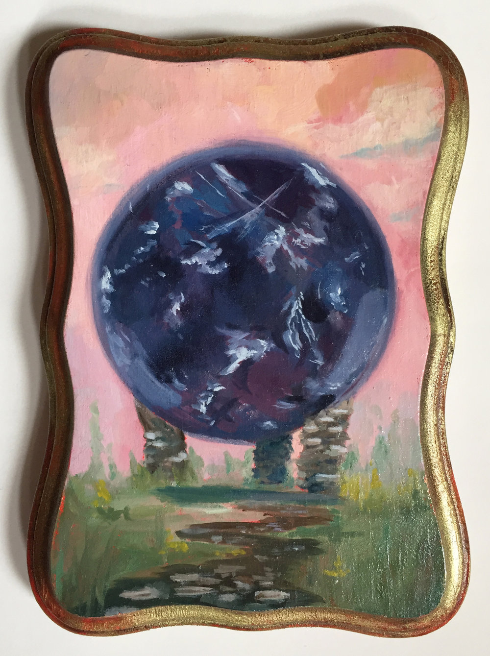 "amethyst   oil on wood 5"" x 7"""