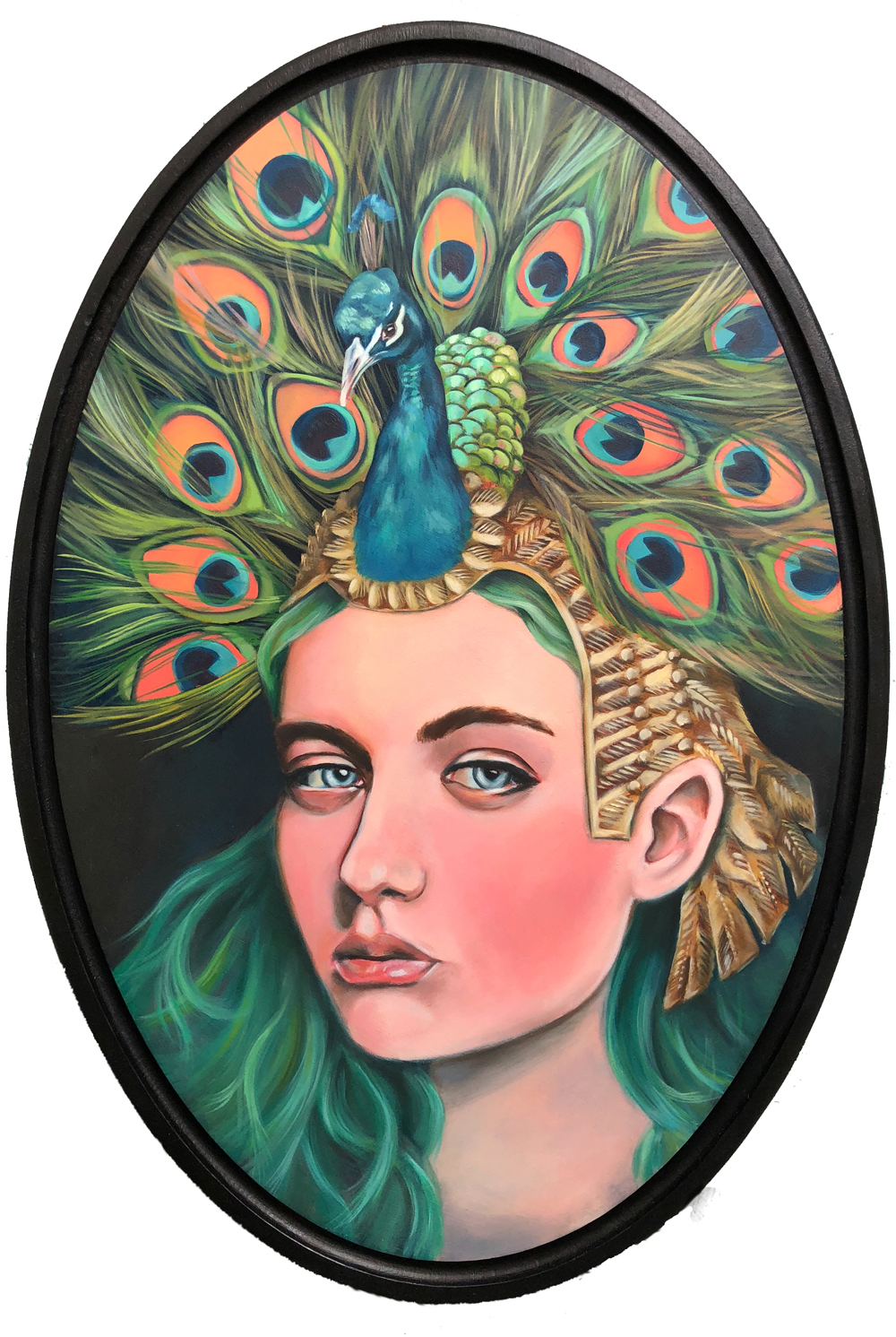 "peacock woman   oil on wood 14"" x 19"""
