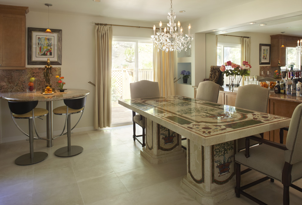 Hand crafted stone table made in Brazil with stone floors and countertops
