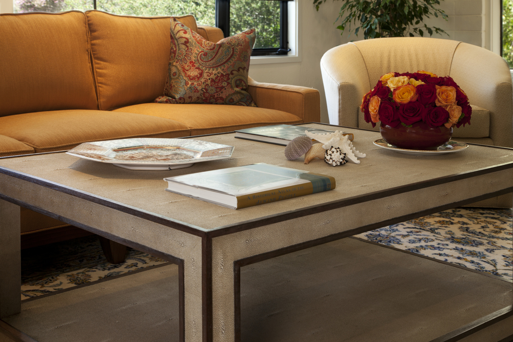 Shagreen Coffee Table ancchors the room
