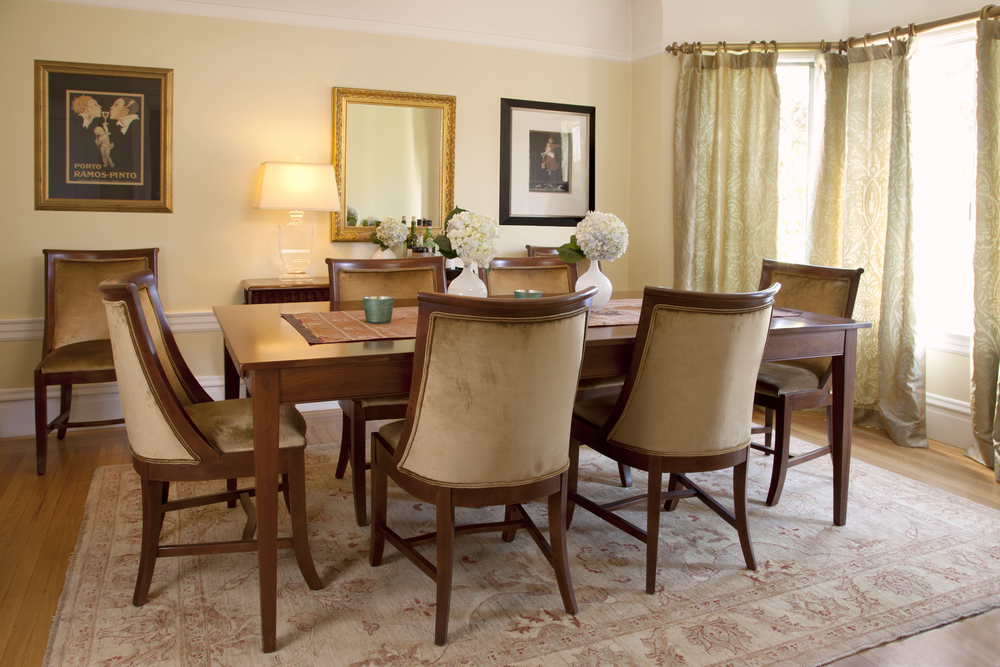Silk and velvet in golds grace this Dining Room