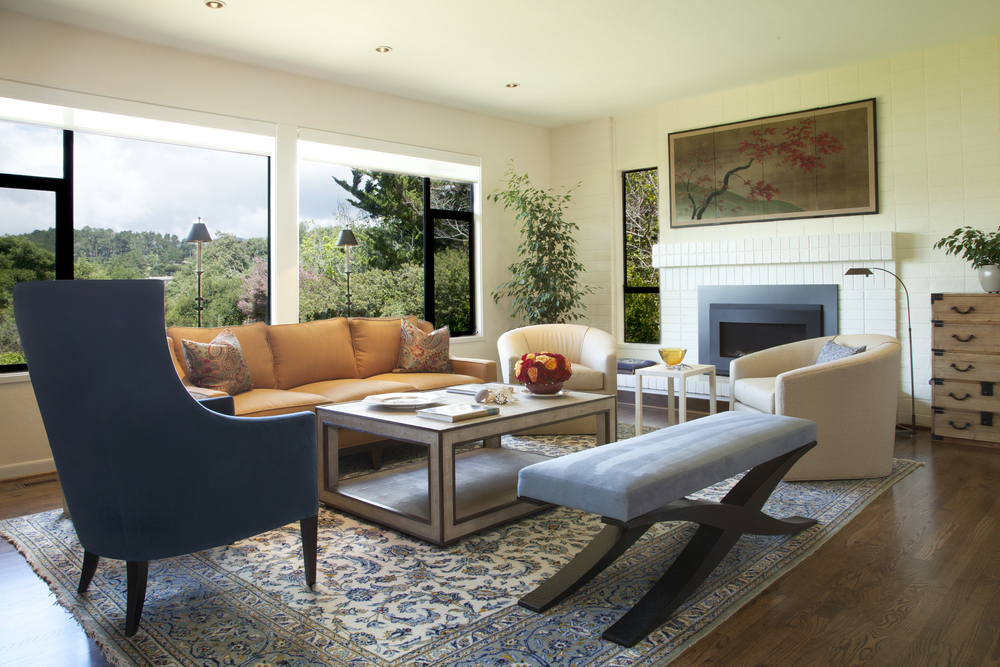 Texture and color mix in this contemporary Living Room