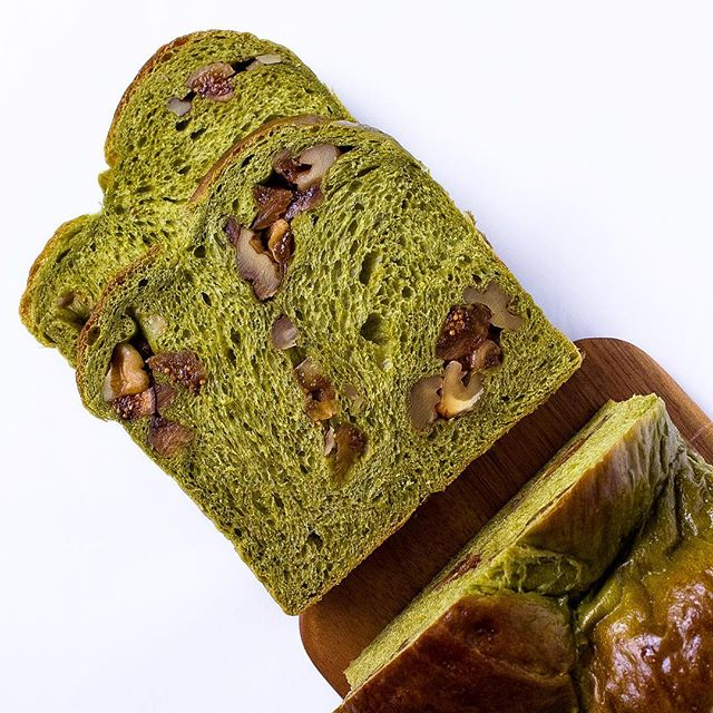 Probably the most expensive bread I've made with figs, matcha and Hokkaido milk from Isetan supermarket.
