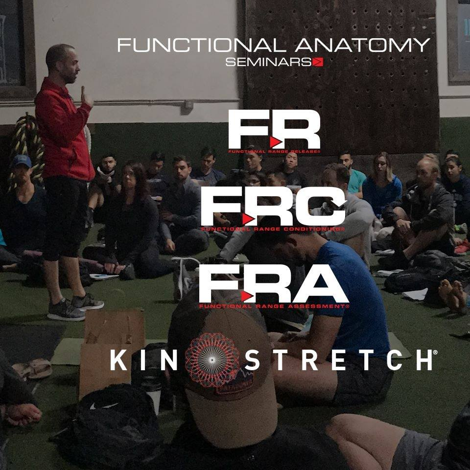Functional Anatomy Seminars     Developed by world-renowned musculoskeletal, and human movement expert  Dr. Andreo Spina,  Functional Range Conditioning (FRC®), is a system of joint health, and mobility training based in scientific principals and research. Mobility refers to the amount of USABLE motion that one possesses across a particular articulation (joint). The more mobile a person is, the more they are able to maximize their movement potential safely, efficiently, and effectively. Grazie.   Photo Credit: Functional Anatomy Seminars FB
