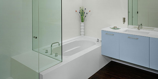solid surface tub, shower, top
