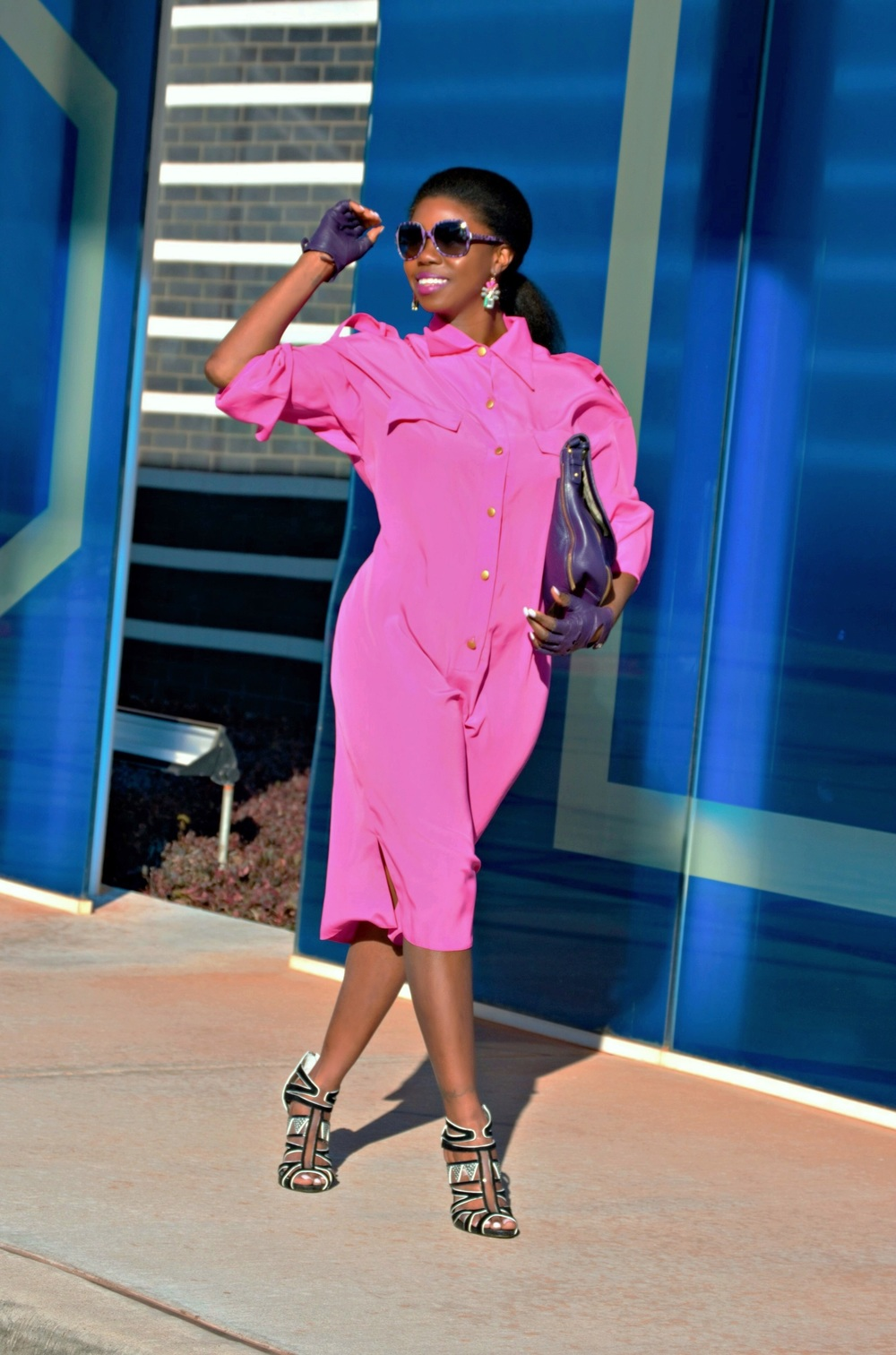 Sunglasses - Dolce & Gabbana (similar  here ) * Shirt Dress -thrifted (similar  here ) * Hot pink blazer - NIC + ZOE (similar  here )  * Earrings - Betsey Johnson (similar  here ) * Cross body bag - Badgley Mischka (seen  here ) * Shoes - Sam Edelman (seen  here ) * Leather finger-less gloves (similar  here)  .