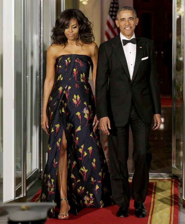 FLOTUS looked radiant in a custom floral Jason Wu gown for White House state dinner.