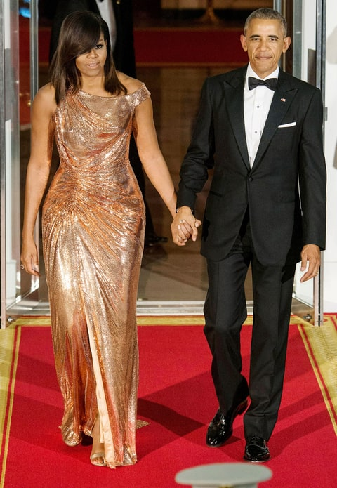 FLOTUS made a show-stopping entrance in Atelier Versace chainmail gown for her final White House State Dinner.