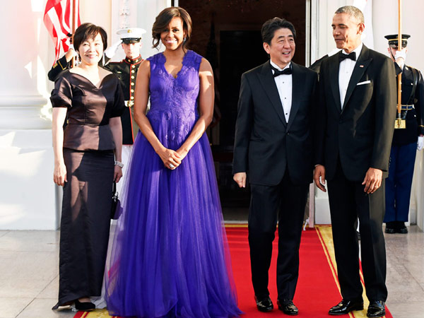 Flotus opted for the conservation version of this Tadashi Shoji gown for the  White House State dinner in honour of the Japanese prime minister.