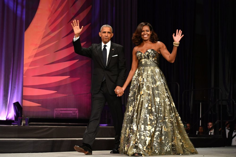 The first lady stunned in a gold leaf inspired Naeem Khan gown at the Phoenix Award Dinner.