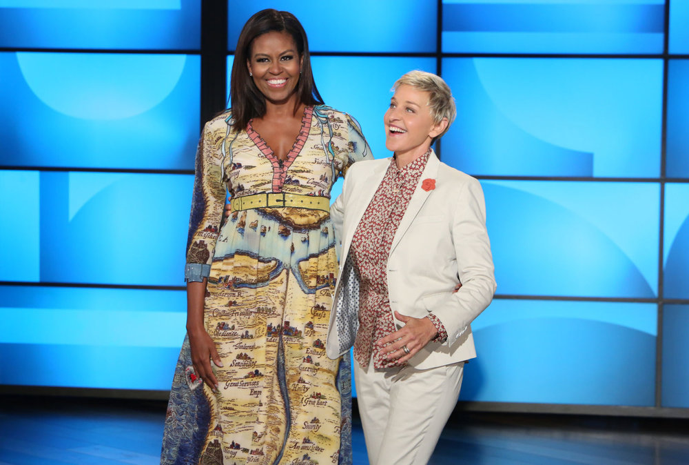 The first lady always has fun with her style and she looked stylish n Gucci on the Ellen show.