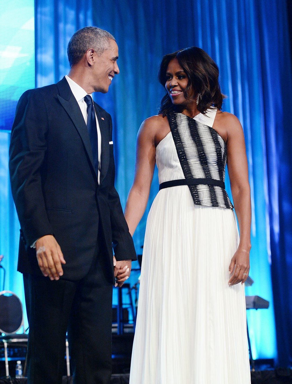 Per usual FLOTUS gave us life at the Black Caucus Foundation Dinner in graphic print bodius Bibhu Mohapatra Gown.