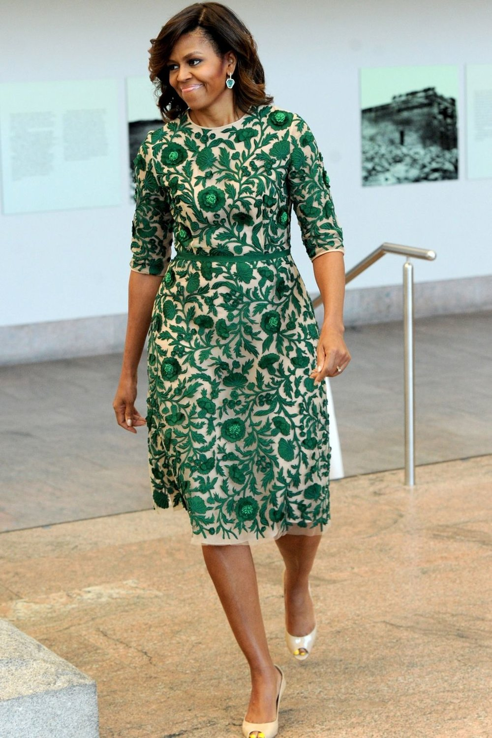 Mrs. Obama wore a Naeem Khan spring/summer 2014 dress with Jimmy Choo heels to the Opening of The Costume Institute's New Anna Wintour Costume Center in New York.