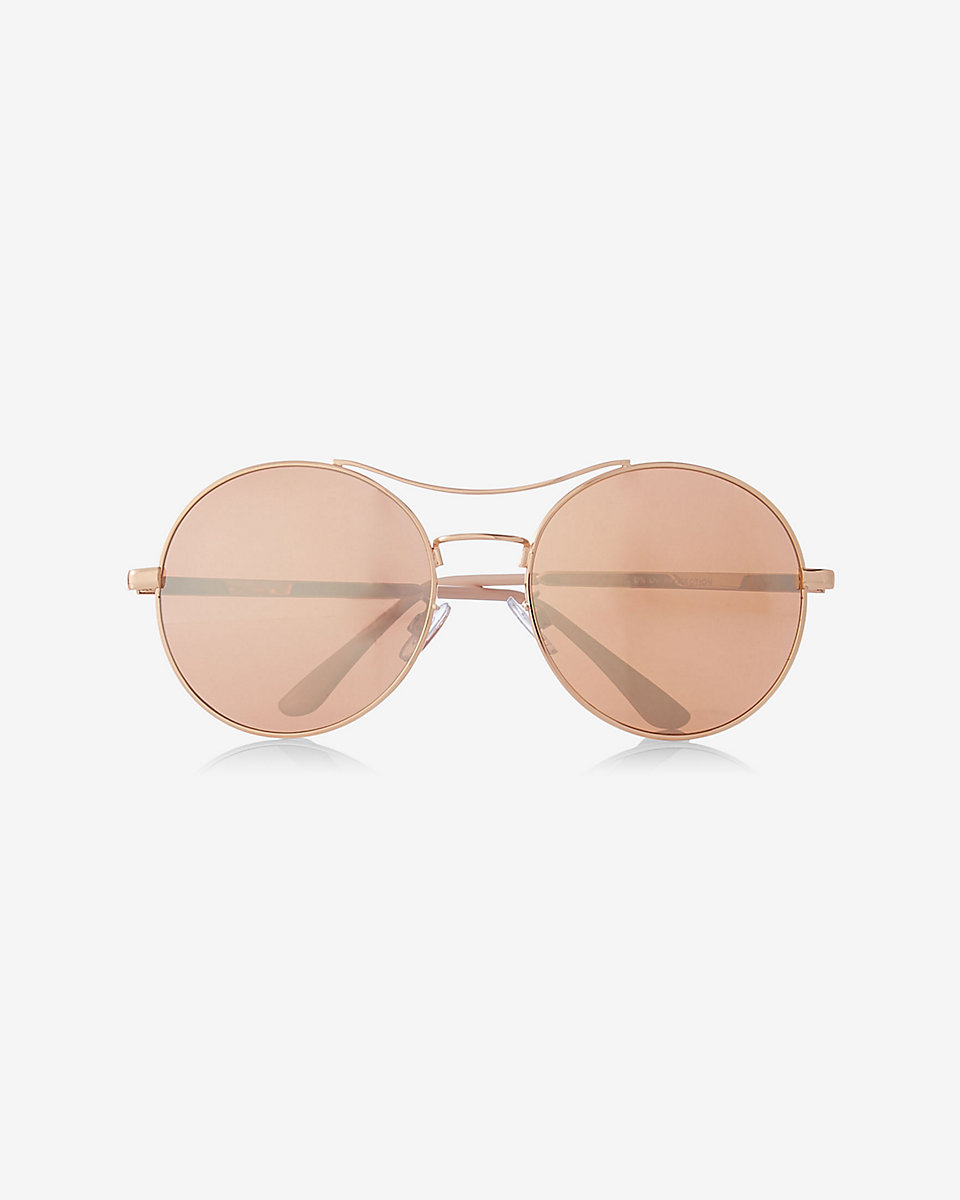 Express Oversized Mirrored Round Sunglasses