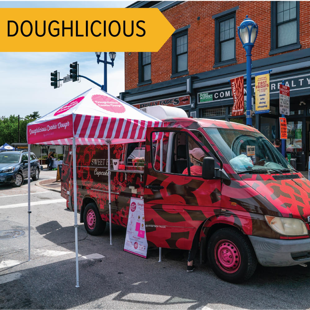 Doughlicious   Part of the Sweetbox Bakery, this truck offers edible cookie dough for you to nibble on while walking the festival!