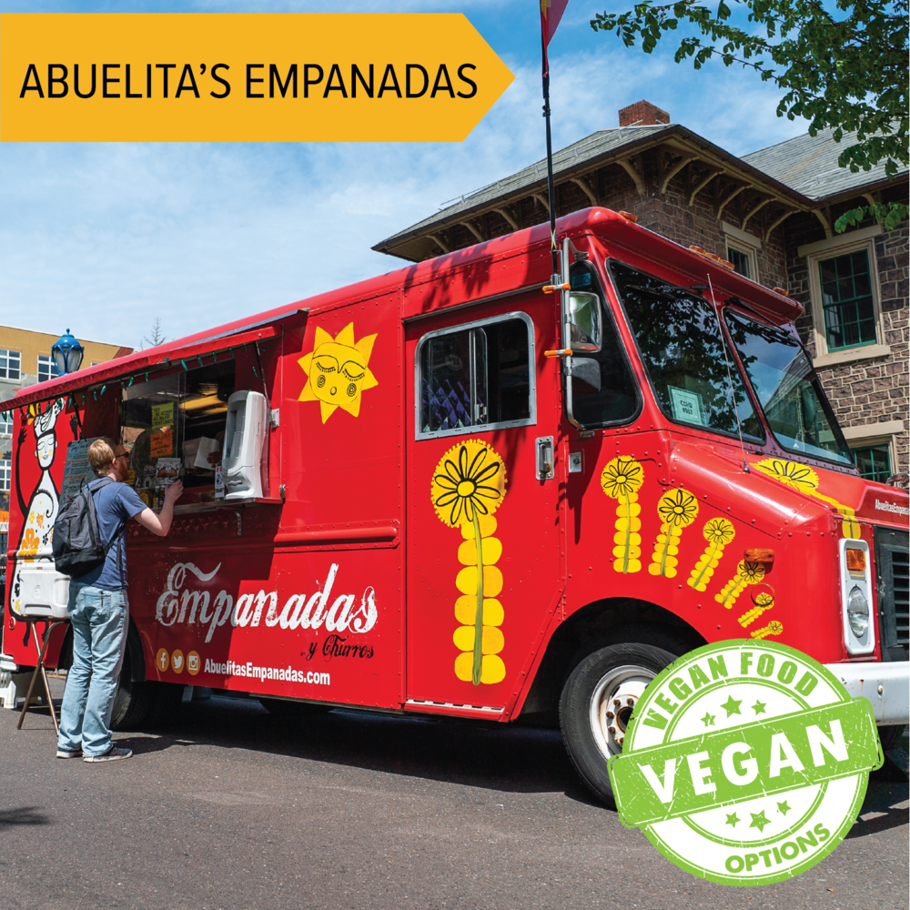 Abuelita's Empanadas   Delicious hand pies in lots of flavors!  Vegan options available!