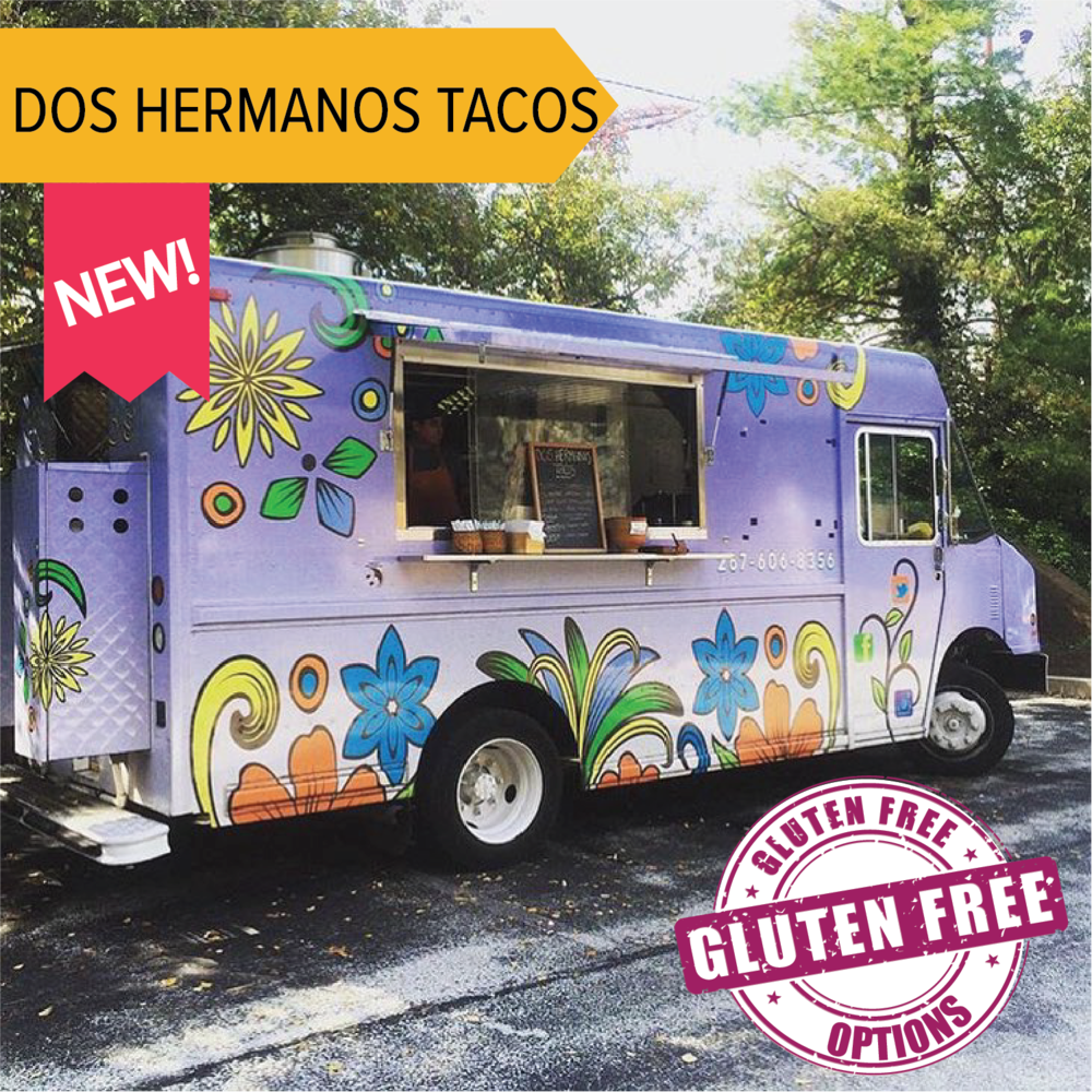 Dos Hermanos   Joining us for the first time this year is Dos Hermanos Tacos! Authentic tacos with gluten free options are available.