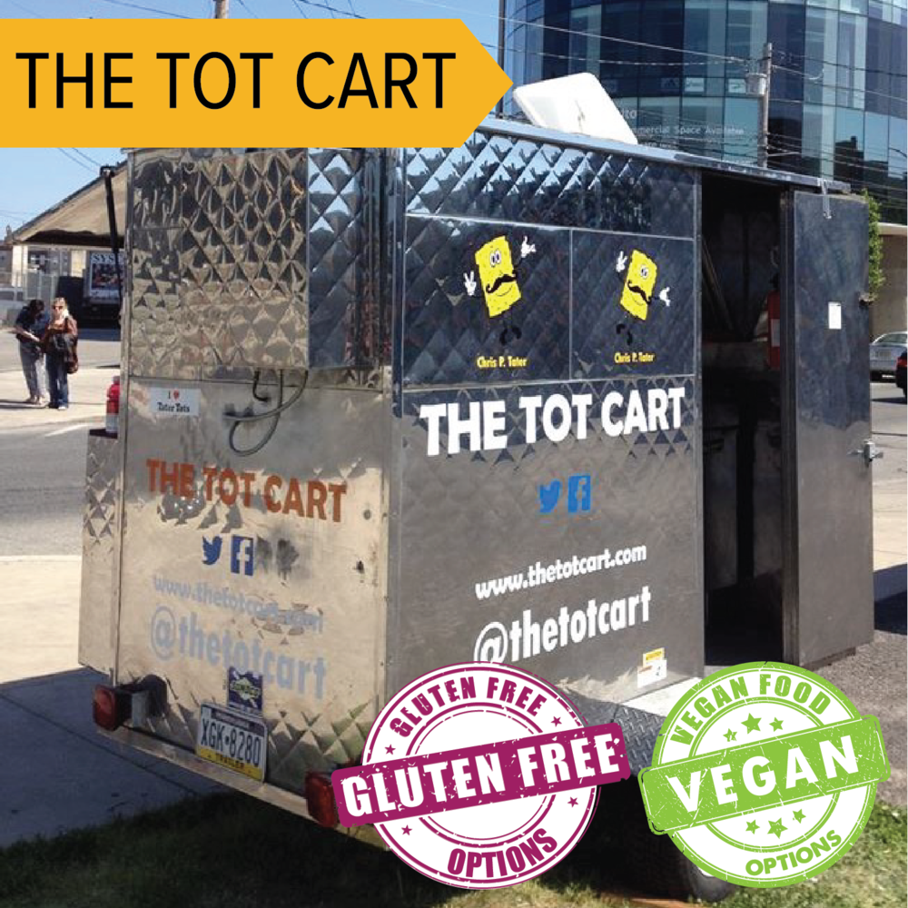 The Tot Cart   Just as it sounds, they offer tater tots with savory toppings like beer cheese and gourmet sauces.  Gluten Free and Vegan Options available!