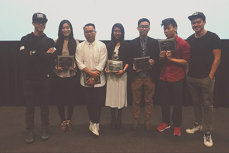 The winners of each category with Wes and Phil from Wong Fu Productions!