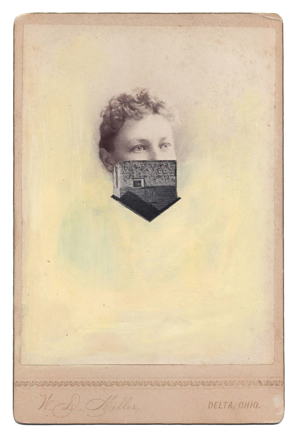 Myopia 4, 2014, Found Photographs, Collage, & Acrylic, 6.5 x 4.25 inches