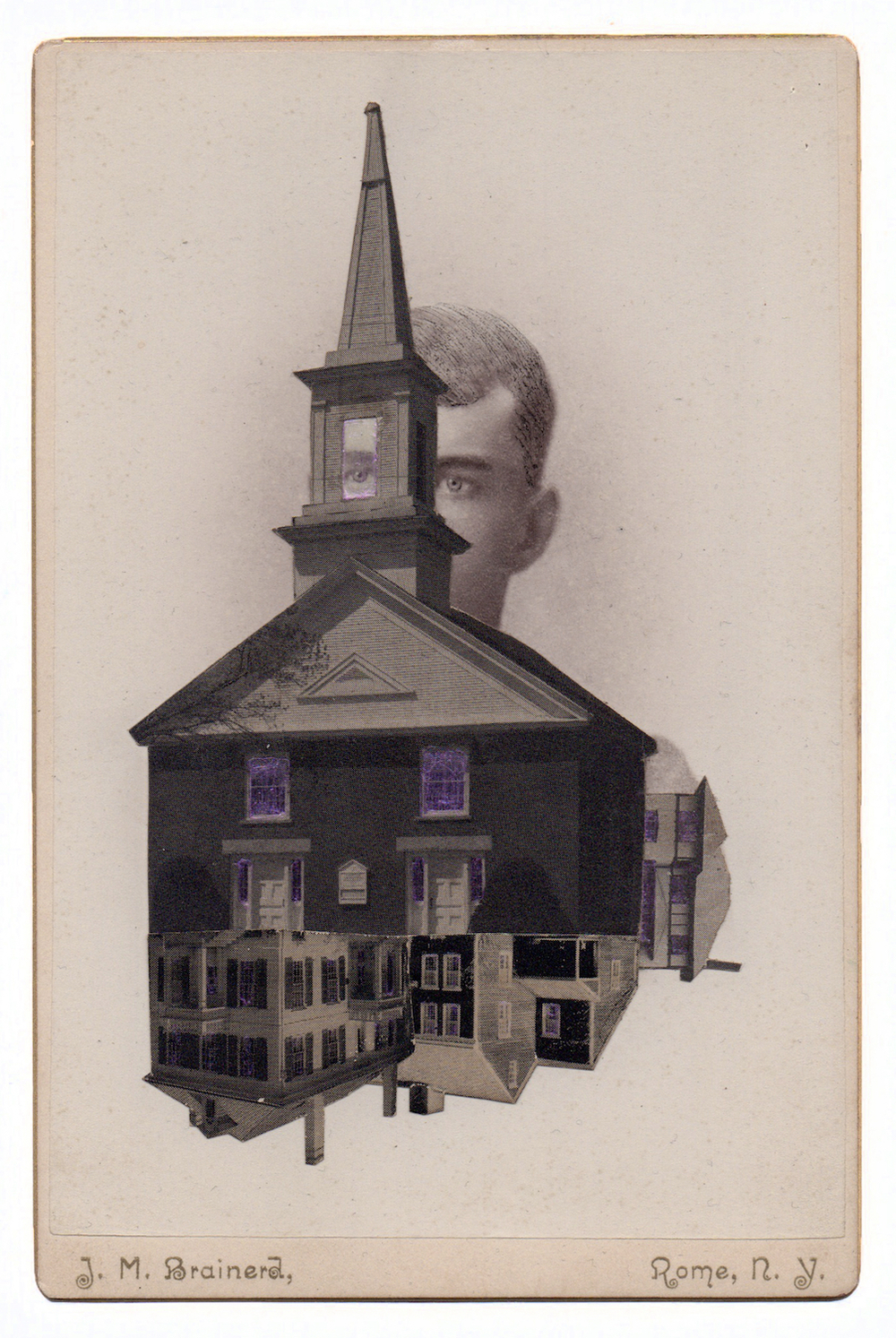 J.M. Brainerd, 2015, Found Photographs, Collage, & Acrylic, 6.25 x 4.25 inches