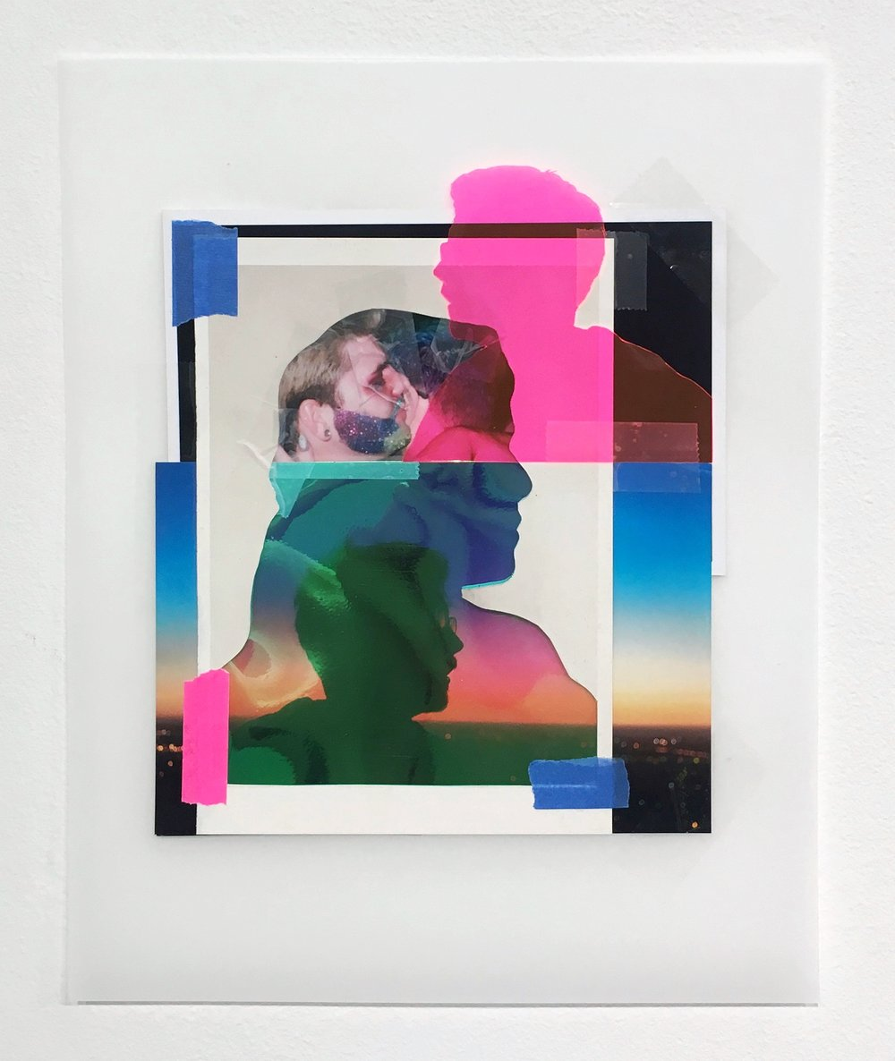 Untitled (Pride before the fall), 2018, Collaged photographs, postcards, tape, vinyl, and duralar, 10 x 8 inches.