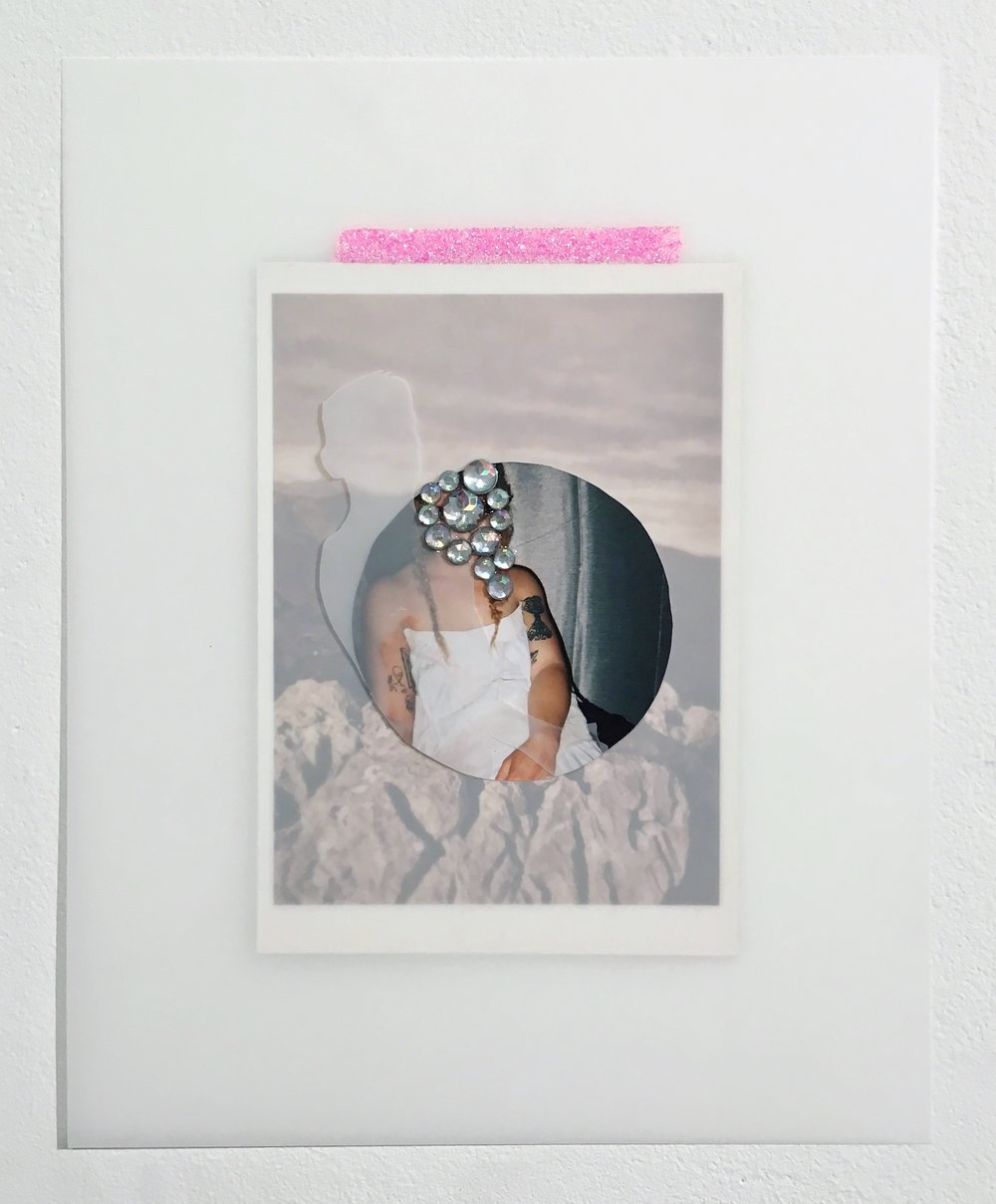 Untitled (Hold tight butter cup), 2018, Collaged photographs, glitter, rhinestones, postcards, tape, and duralar, 10 x 8 inches.
