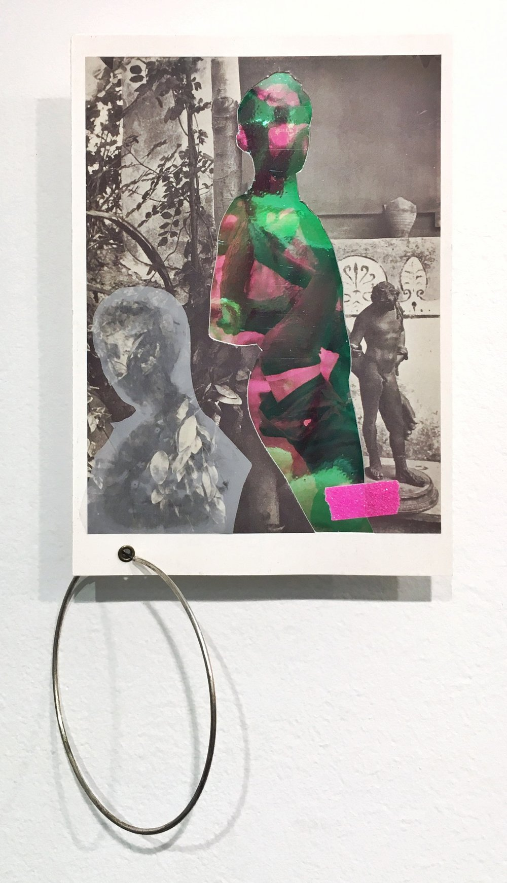 Untitled (Hang in there buddy), 2018, Collaged photographs, postcards, tape, vinyl, earring, and duralar, 8 x 4 inches (variable).