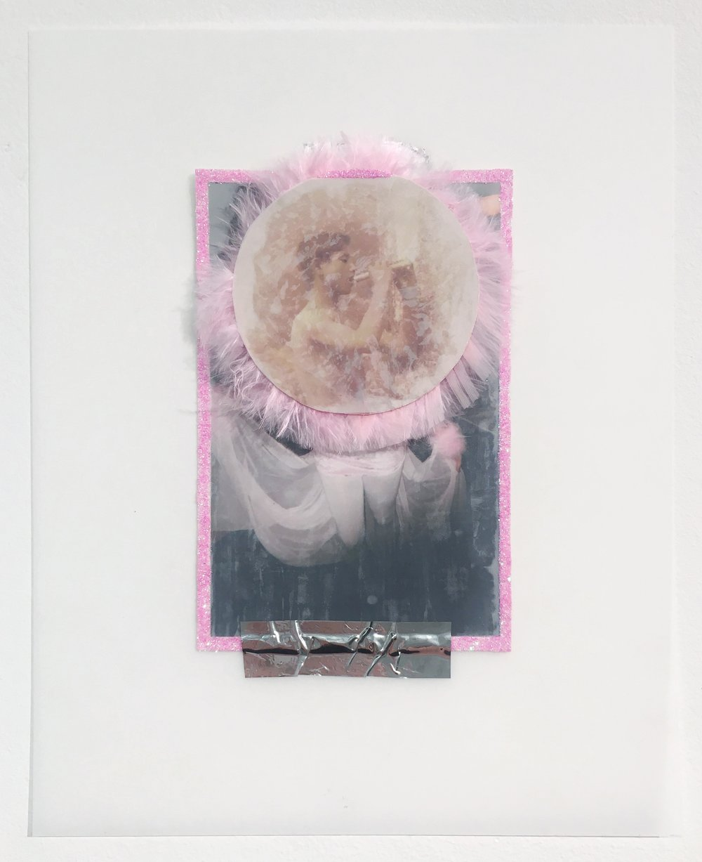 Untitled (Hey QT), 2018, Collaged photographs, glitter, feathers, postcards, tape, and duralar, 10 x 8 inches.