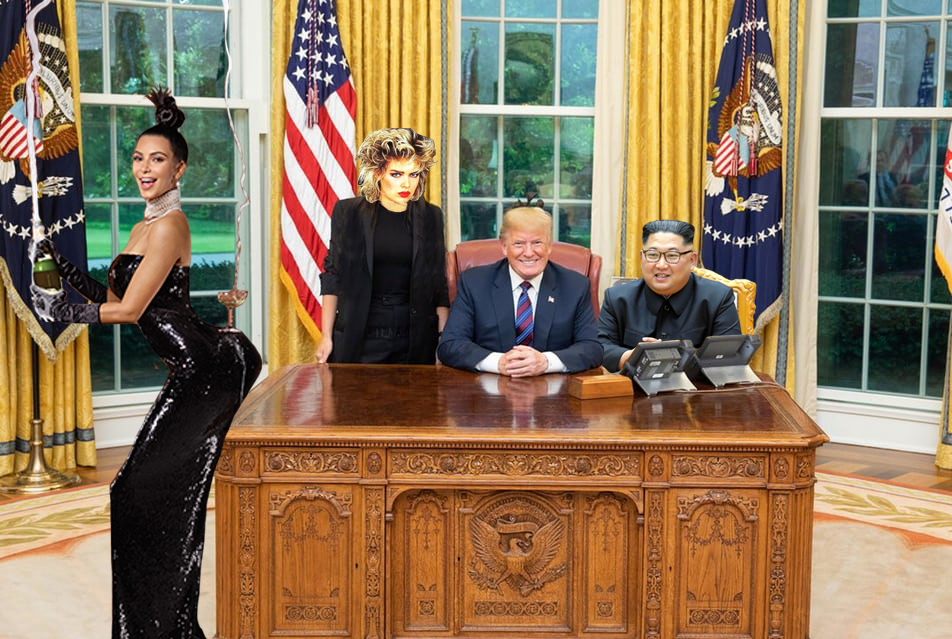 The champagne flowed as Donald Trumpet took time out of his busy golf schedule to meet a delegation of Kims
