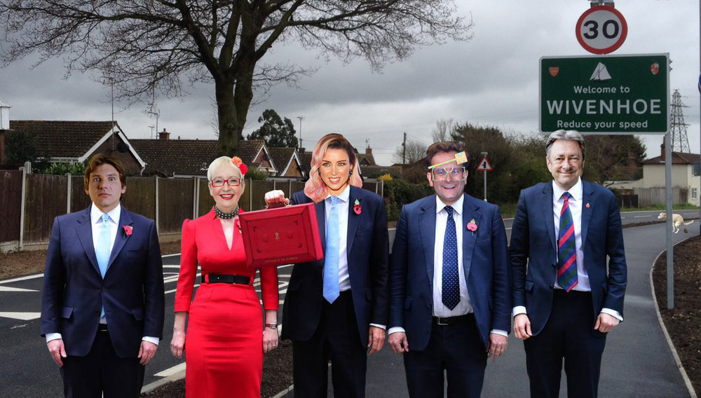 Wivenhoe Mayor Dame Dannii Minogue with her crack team of experts: Doctor Han Solo, Professor Su Pollard, Sir Timothy of Mallett and Alan 'Titchy' Titchmarsh