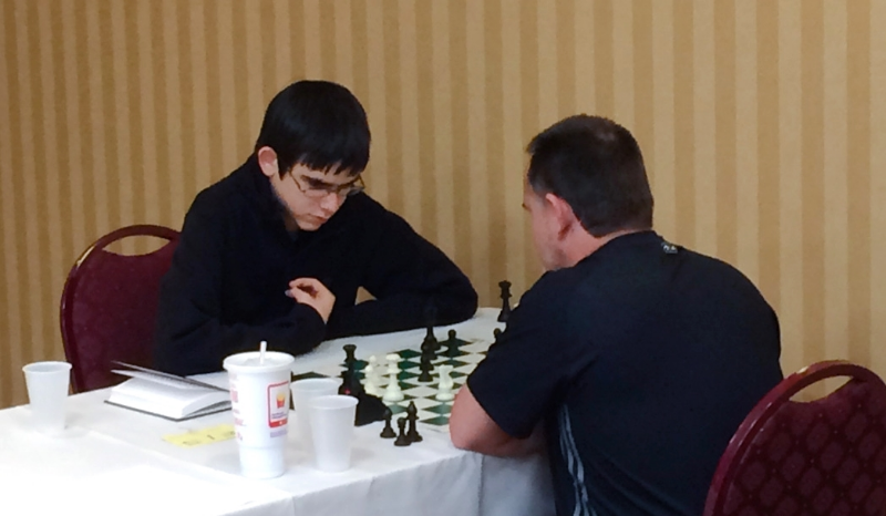 John Ludwig (L) vs Jorge Reynaldo (R), Board One, Round 5, CFCC Orlando Autumn Open, Oct 9-11 at the DoubleTree by Hilton at SeaWorld.