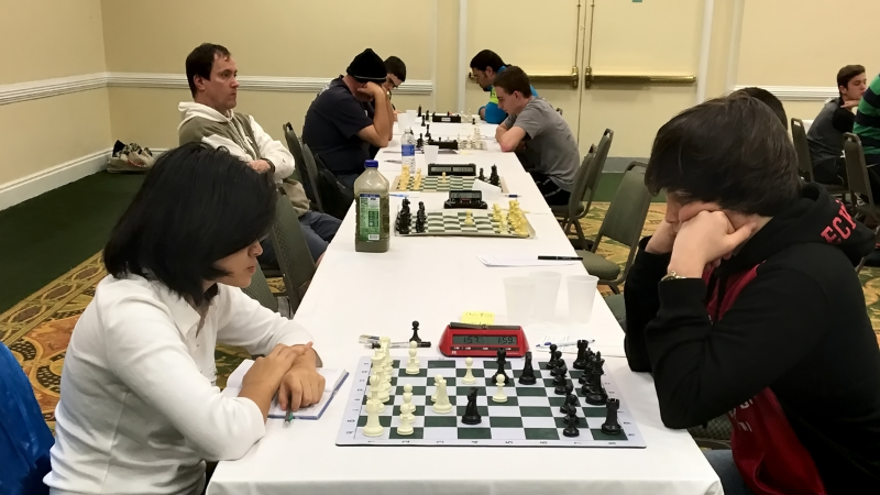 Final round, Master/Expert section, Gainesville's Cindy Jie (1962) (L) vs Daytona's Kai Tabor (1996)(R) in a game that ended in a draw.