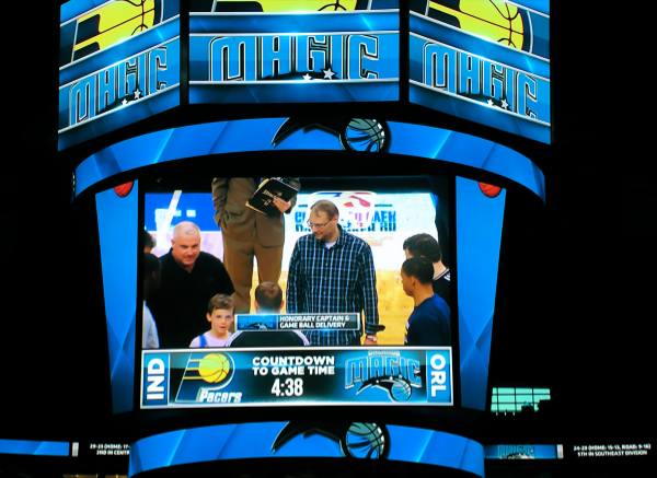 GM Lars Bo Hansen on the Amway Center's JumboTron delivering the game Ball for the Orlando Magic vs. Indiana Pacers basketball game last Sunday night.