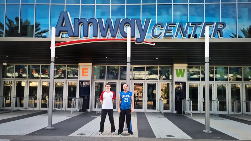 GM Janek-Krzysztof Duda (FIDE 2660) (L) with Adam Dzwonkowski (Vice President of the Polish Chess Federation) (R) at the Amway Center in Orlando, FL.