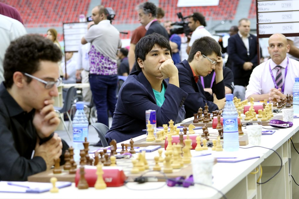 Wesley So took the board four gold medal with 8½/10. Photo credit:  Baku Chess Olympiad