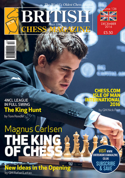 This article was published in the 2016 December issue of British Chess Magazine (BCM) which began in 1881 and is the world's oldest chess magazine. Theo Slade is their youngest ever staff writer, starting when he was only 12 years old! Theo has been writing regularly for BCM for three years and has agreed to share his articles with the CFCC community.
